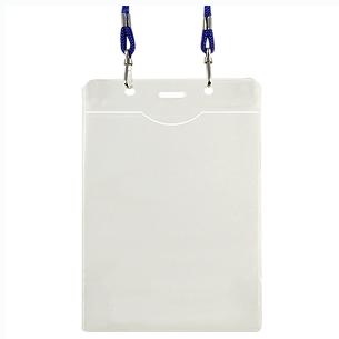 Porta-Credencial Grande de PVC Clear, incluye cordón azul para colgar. Presentación Formato Vertical.
