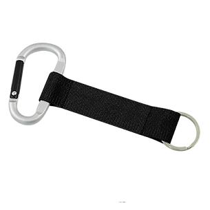 Llavero-Lanyard de polyester, con anillo porta-llaves y mosquetón metálicos grandes.