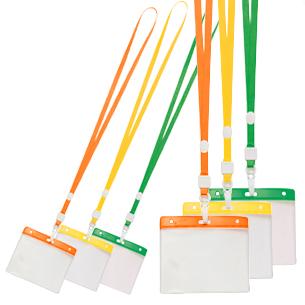 Porta-Credencial de PVC translúcido y banda superior de color, con lanyard para colgar. Para credenciales tamaño Tarjeta de Crédito. Presentación Formato Horizontal.
