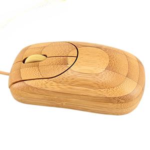 Mouse óptico 100% de madera de Bamboo. Incluye cable y conector USB.
