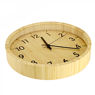Deluxe Reloj análogo redondo de pared, 100% madera Bamboo.