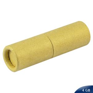 Pendrive Ecológico 4GB, cilíndrico de cartón reciclado. Presentación en Estuche de Cartulina Natural.
