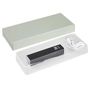 """Power Bank cargador USB portátil metálico, modelo """"Basic"""". Capacidad 2200mAh. Incluye cable USB con terminal para celular. Batería recargable incorporada. Presentación en caja de regalo de cartulina gris."""