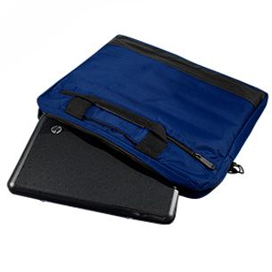"""Maletín Porta-Notebook modelo """"Tempo"""", con doble compartimento interior acolchado + bolsillo delantero para documentos, en tela impermeable polyester 420D."""