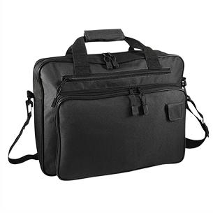 """Maletín Portadocumentos de tela raquelada Polyester 600D modelo """"Melbourne"""", con bolsillo delantero, organizador interior y salida para auriculares."""