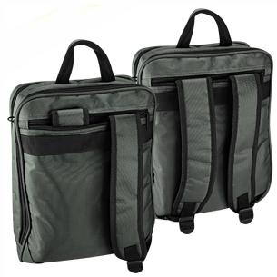 """Deluxe Maletín Porta-Notebook modelo """"XD"""", con doble compartimento interior + bolsillo delantero y placa metálica de 5 x 1.5 cm para grabar logo. Incluye bolsillo posterior con asas para convertir en Mochila. Tela Polyester 1680D."""