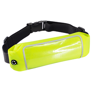 """Deluxe Banano impermeable modelo """"Jog"""", en tela Polyester Stretch 210 Waterproof. Incluye banda-cinturón elasticado ajustable color negro, cierre-eclair posterior impermeable, salida para auriculares y ventana de PVC clear para smart-phone, compatible Samsung, i-Phone, Xperia y en general todas las marcas, modelos y tamaños. Bandas reflectantes color plateado en ambos lados. Ideal para practicar deportes."""