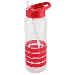 """Botella deportiva modelo """"Tritan"""", de plástico rígido traslúcido Tritan con 4 anillos de silicona de color. Tapa de plástico PP de color con bebedero retráctil. Incuye bombilla plástica en el interior. Para líquidos fríos (no térmico)."""
