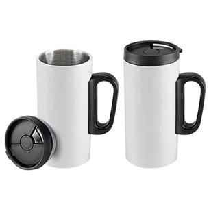 """Mini-tazón para café modelo """"Tritan"""" de Acero inoxidable doble pared aislante, cuerpo exterior color. Tapa de plástico PP negro con dosificador móvil."""