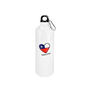 """Botella deportiva de Aluminio con gráfica """"Vamos Chile"""". Incluye tapa rosca y mosquetón para colgar."""