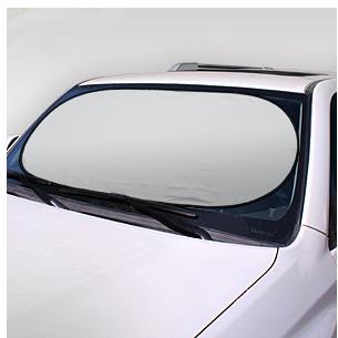 Parasol plegable de nylon plateado para el vehículo. Presentación dentro de funda redonda de nylon plateado. Gran área para impresión.