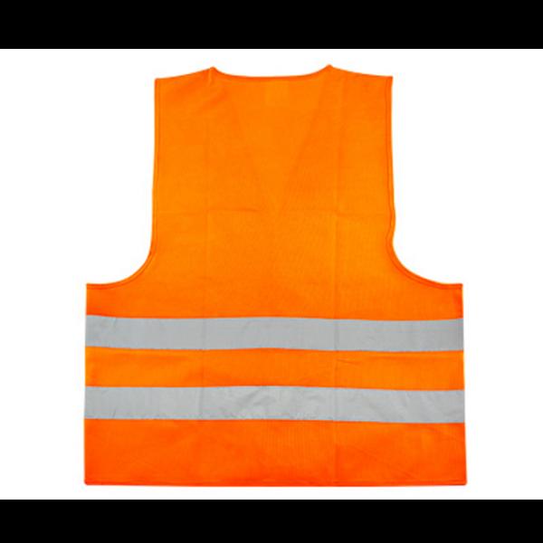"""Chaleco Reflectante de Seguridad modelo """"Basic"""", 100% tela poliéster 100 g/m2 fluorescente con bandas reflectantes color plateado de 5 cm. de ancho. Incluye cierre velcro. Cumple con norma vigente de Ley del Tránsito y norma legal EN 471."""