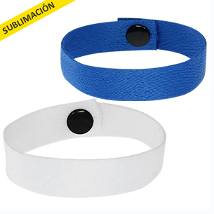 Pulsera Promocional de polyester liso de 1.5 cm de ancho para sublimación, con cierre broche negro.
