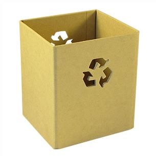 """Porta-Lápices Ecológico plegable, en cartón reciclado. Incluye ícono """"Reciclable"""" calado."""
